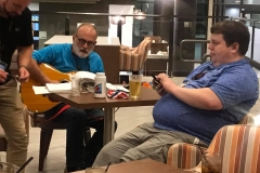 Bill Allen playing the guitar with Clay Trachtman on Saturday night at the hotel bar.